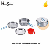 Small Stainless Steel Pot Pans Camping Cook Set For Picnic