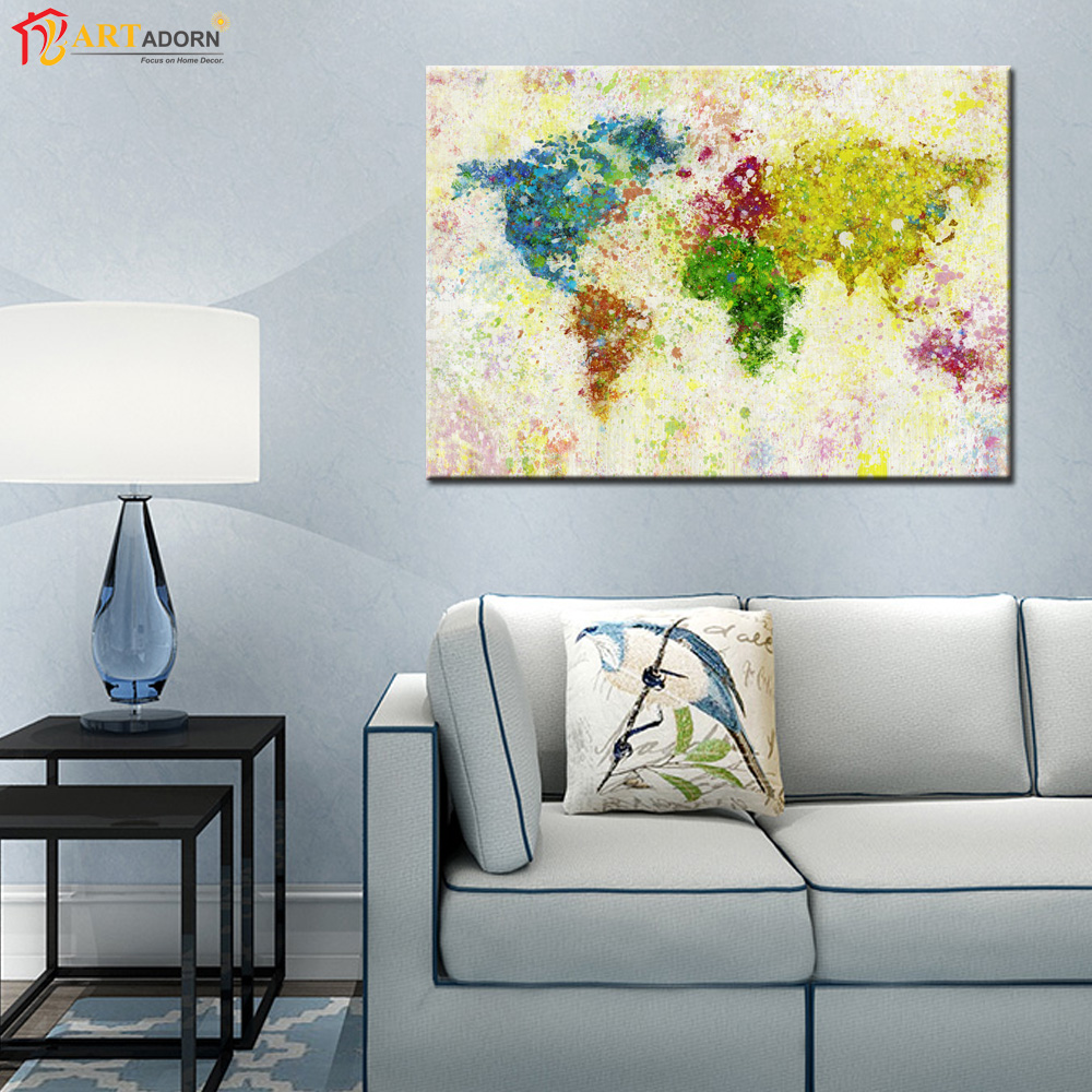 Living Room Abstract Art: Abstract Print World Map Painting On Canvas Wall Art