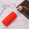 550ml Glass Water Bottle With Silicone Sleeve (Red)