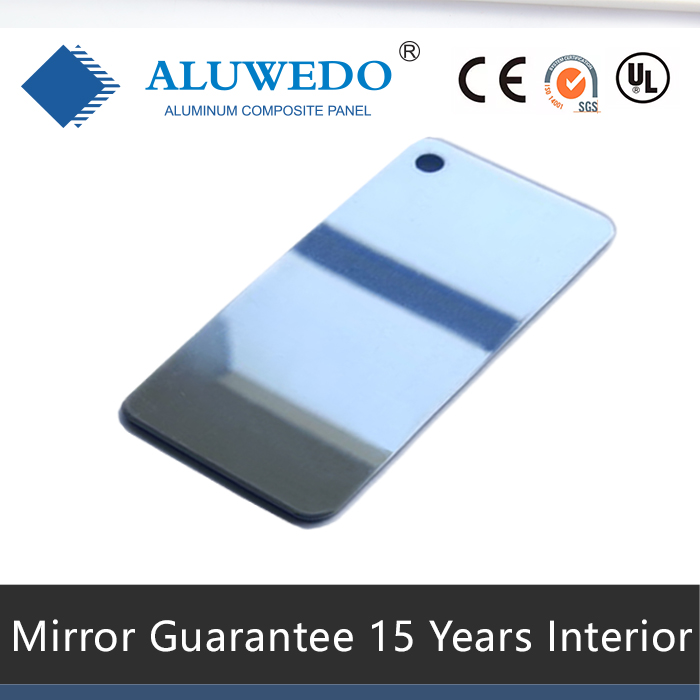 Silver Mirror Surface for interior decoration and exterior sign board ACM