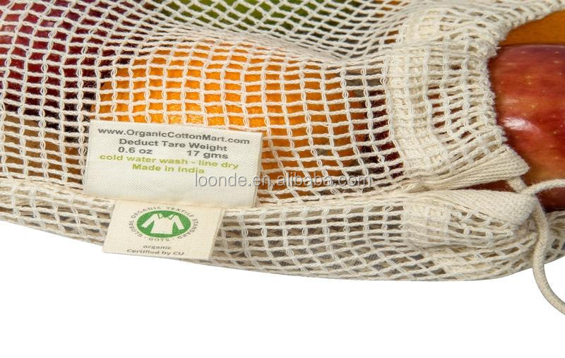Washable Reusable Cotton Mesh Produce Bag For Vegetable And Fruit Packing