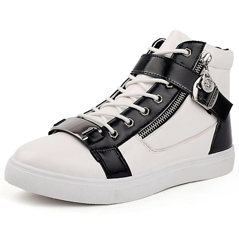 New 2015 Men Shoes Autumn Winter Casual Fashion Flats Sneakers PU Leather  Lace up High Top Shoes  Breathable Black  Siize 39-44