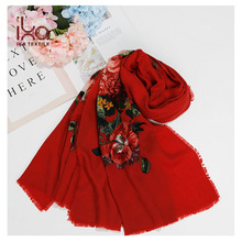 Big Size Warm Women Fashion Traditional Russian Floral Printed Wool Shawl Wool Head Scarf