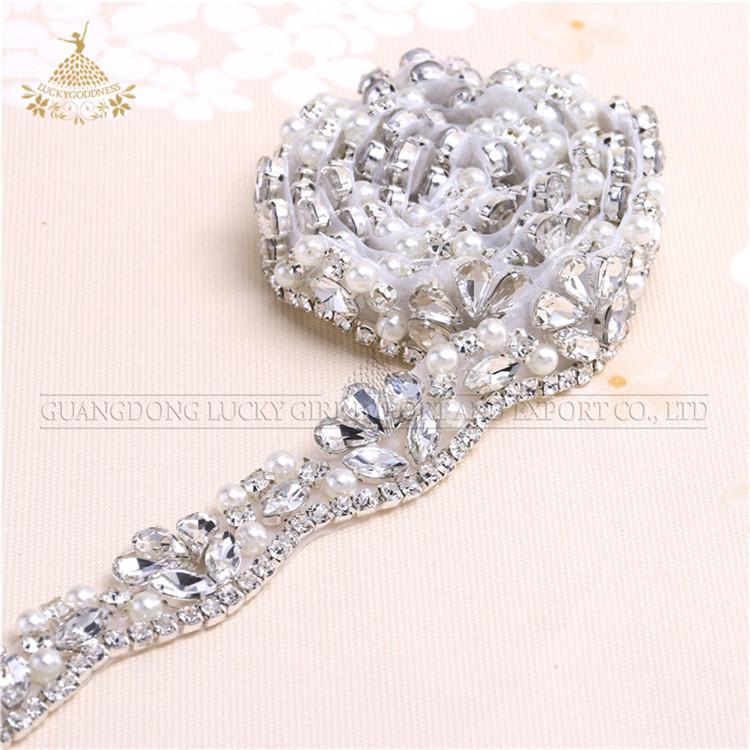 Amazon wholesale Handmade beaded crystal rhinestones applique belts for wedding dress