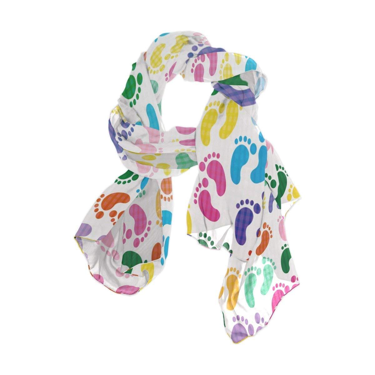 ALAZA Fashion Lightweight Colorful Footprint Chiffon Silk Long Scarf Shawl Wrap