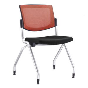 Office Star Breathable Flexible Mesh Back Folding Nesting Chair with Padded Fabric Seat or Casters