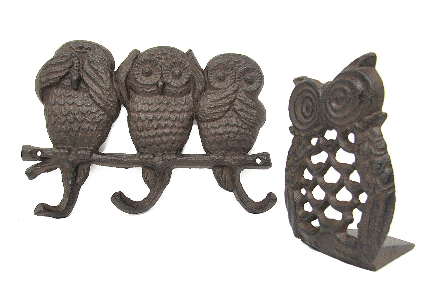 3 Owl Key Hooks See No Evil, Speak No Evil, Hear No Evil & Owl Door Stopper Cast Iron w/Screws, Shabby Chic Vintage Wall Mounted, Holds Coats, Bags, Hats, Towels, Scarf's- by Ashes to Beauty