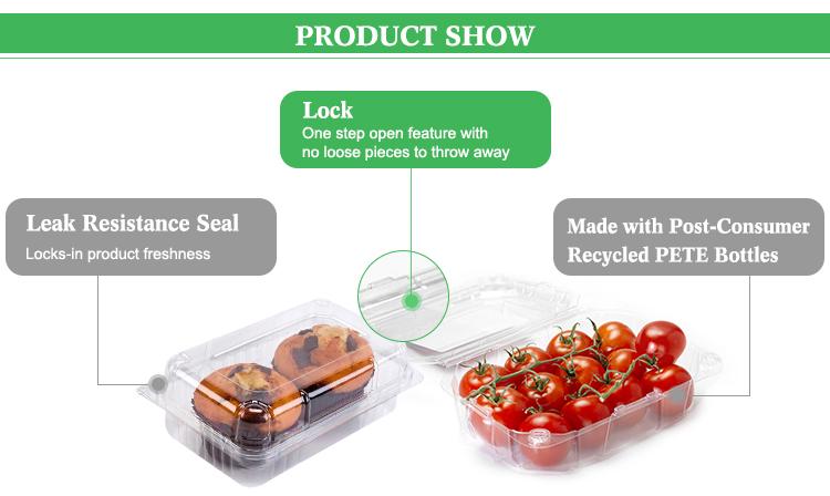 Food grade de plástico pequeno one time use recipientes de comida para a embalagem do bolo