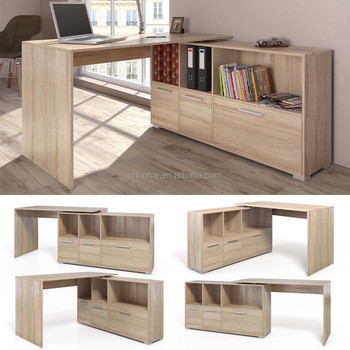 White Oak Wood Corner Computer Pc Work Desk Home Office Study Furniture