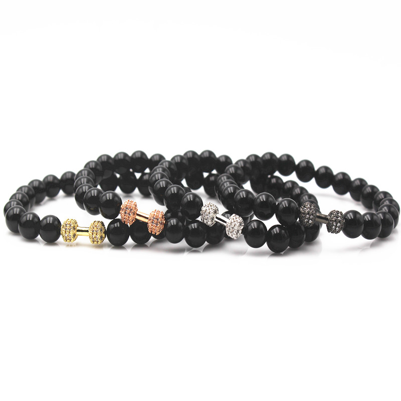 Natural Stones Live Lift Dumbbell Bracelet Black Onyx Matte Beads Barbell Fitness Rockmen Bracelet Men Jewelry
