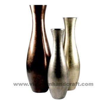 Eco Friendly Handpainted Vietnamese Lacquered Vases In Goldwhite