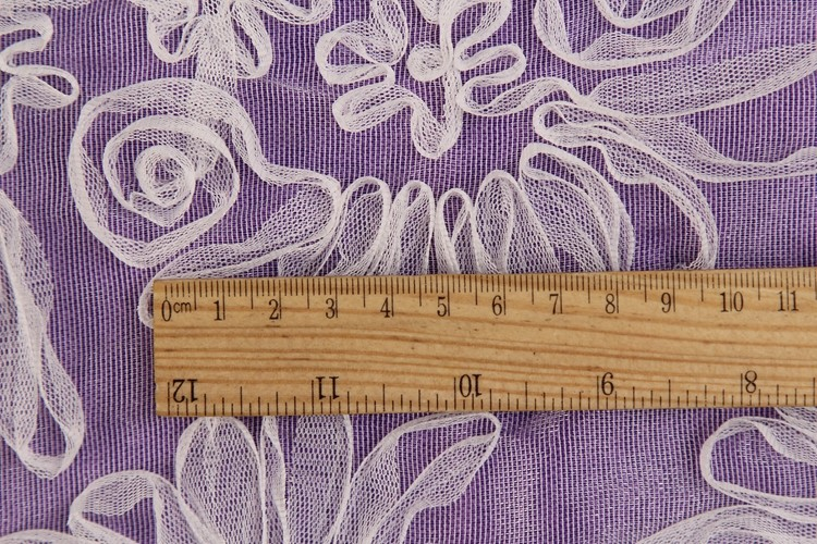 2016 Best quality purple dyed polyester cord embroidery knitted fabric wholesale online