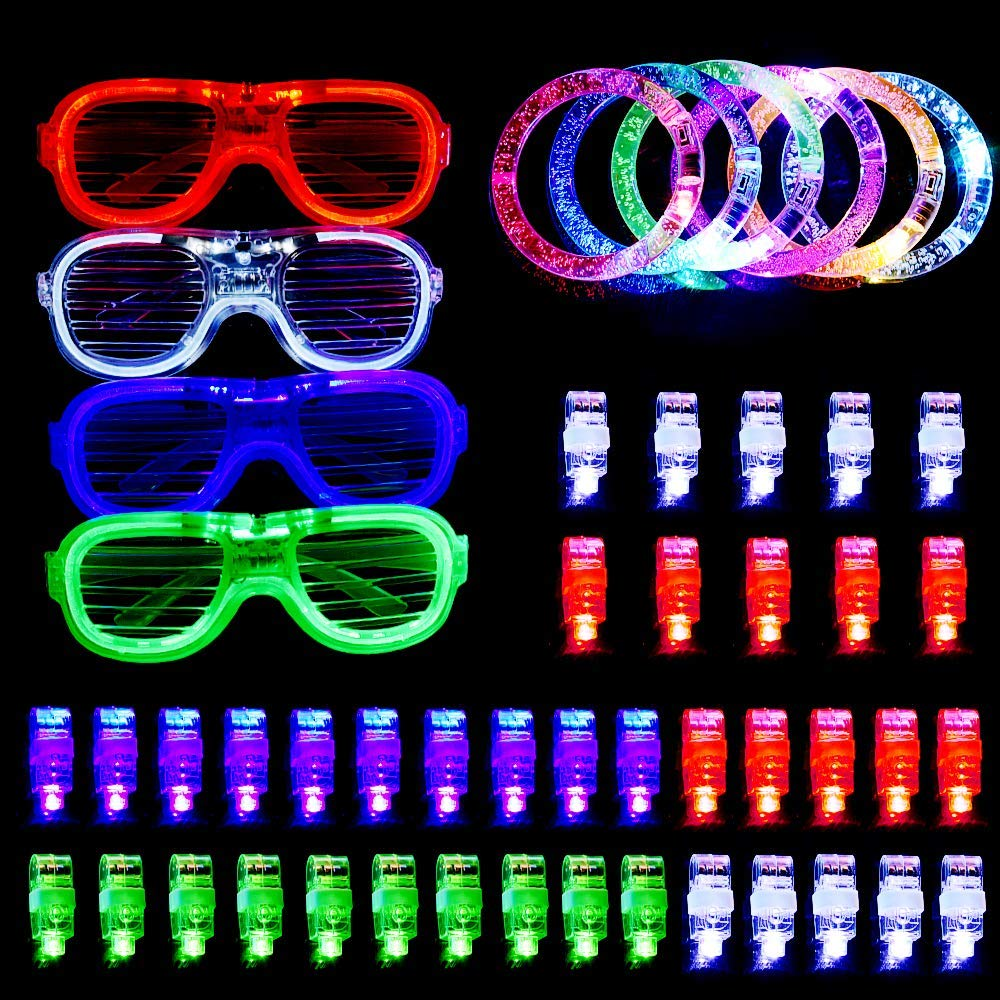 LED Party Favors for Halloween Christmas,BASEIN 50PCS LED Light Up Toys Glow in the Dark Party Supplies for Kids Adults Teens with 40 LED Finger Lights,6 Bracelets and 4 Flashing Slotted Shades Glasses