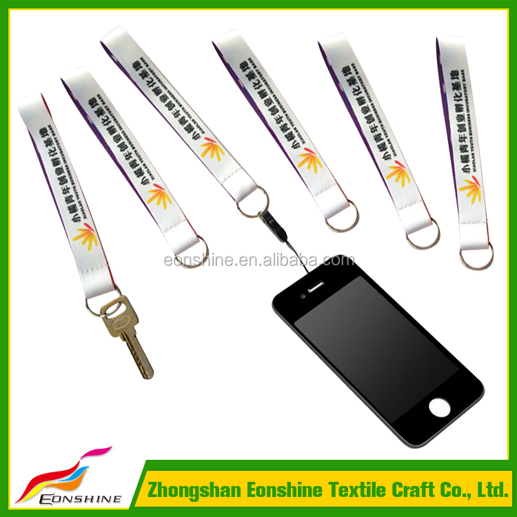 2017 New Products Heat Transfer Printed Polyester Wrist Strap Short Key Mobile Phone Lanyard