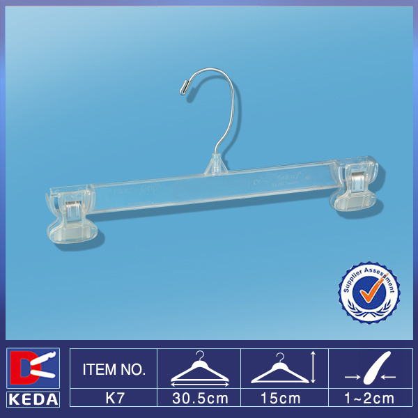 With 1 years guarantee metal hook 30cm plastic pants hanger with clips K7