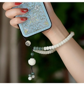 Creative luxury cell phone accessories mobile phone straps bracelet beaded phone lanyard for women
