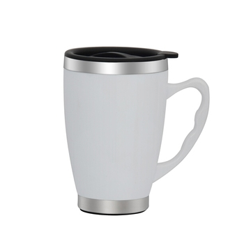 450ml Stainless Steel Inner Ceramic Outer Plain White Coffee Mugs Blank Whole Fancy