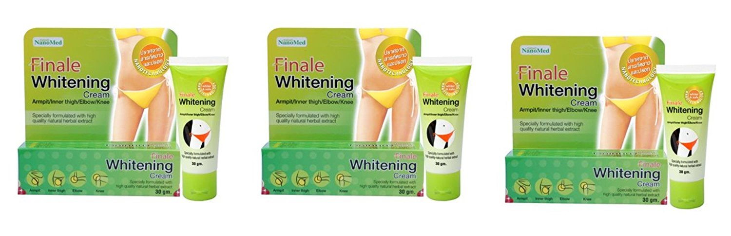 Beauty Set : 3 Units of Nanomed : Finale Whitening Cream Brighten Underarm and Groin Areas 30 g. Best Seller of Thailand [Free Facial Hair Epicare Spring A1Remover]