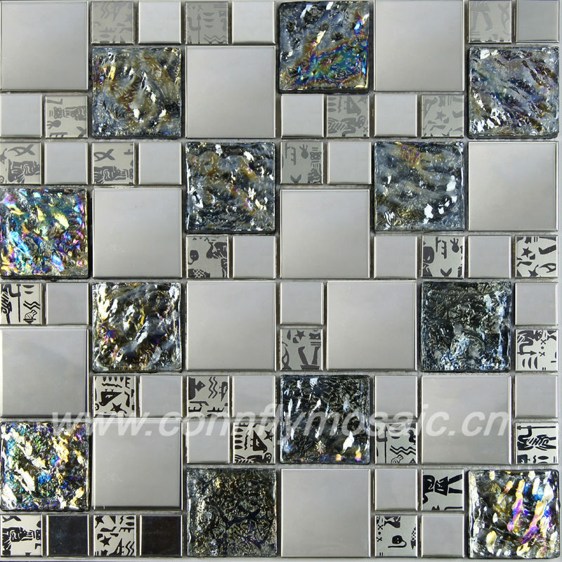 Metal Mirror Mix Iridescent Glass Mosaic Tile Backsplash