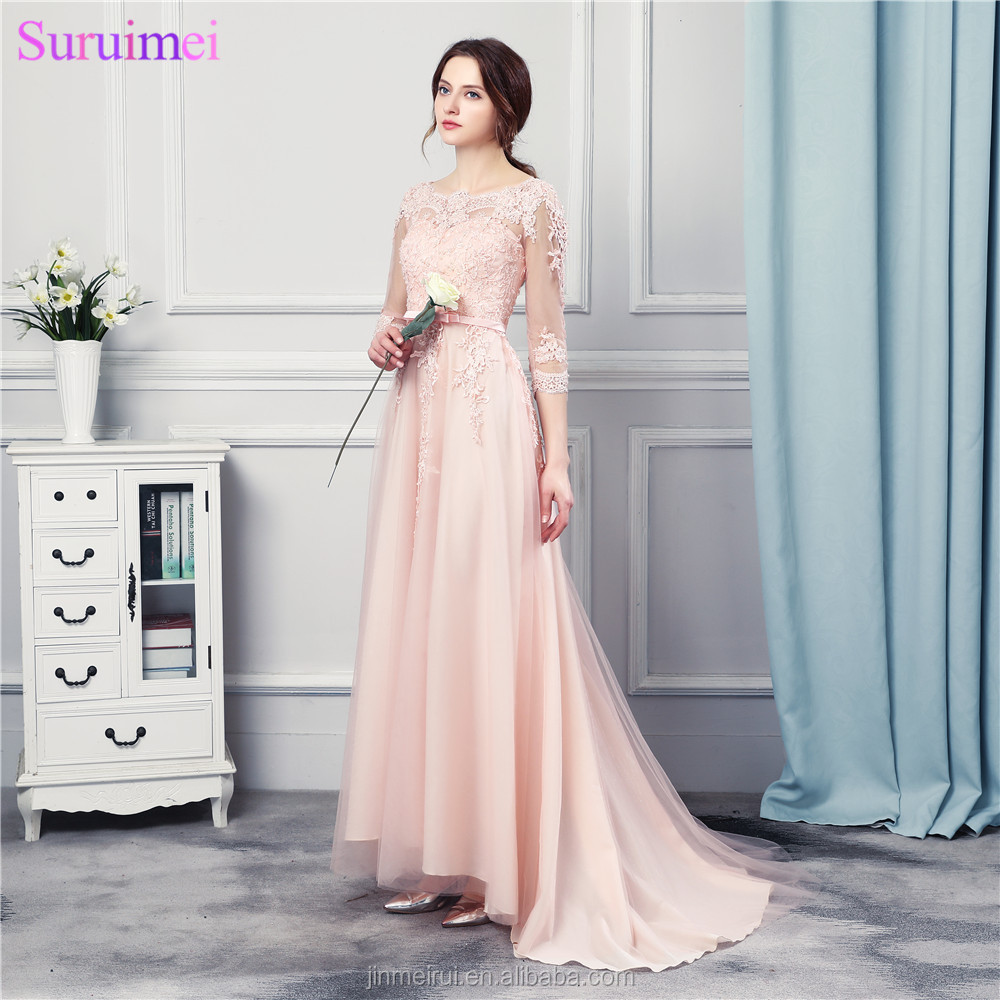 Peach Pink Bridesmaid Dresses Long Chiffon Floor Length Fashion Lace Applique Brides Maid Dress Free Shipping