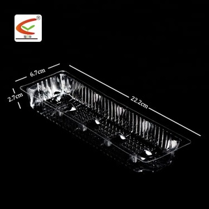 Clear Rectangular Plastic OPS cake snack food tray/cookies plastic tray