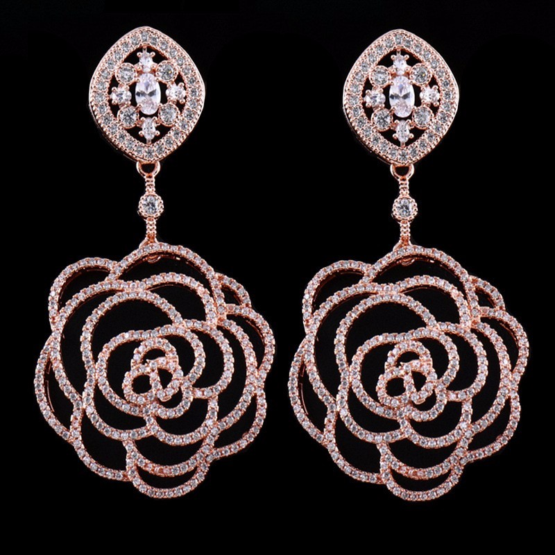 rose gold plating rose flower designs zirconia earring wedding lady cz earrings that look real