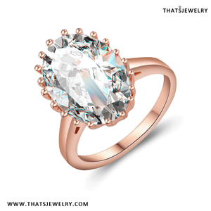 18K Plated Rose Gold Big Solitaire imitation Gemstone Diamond Jewelry Cocktail Ring