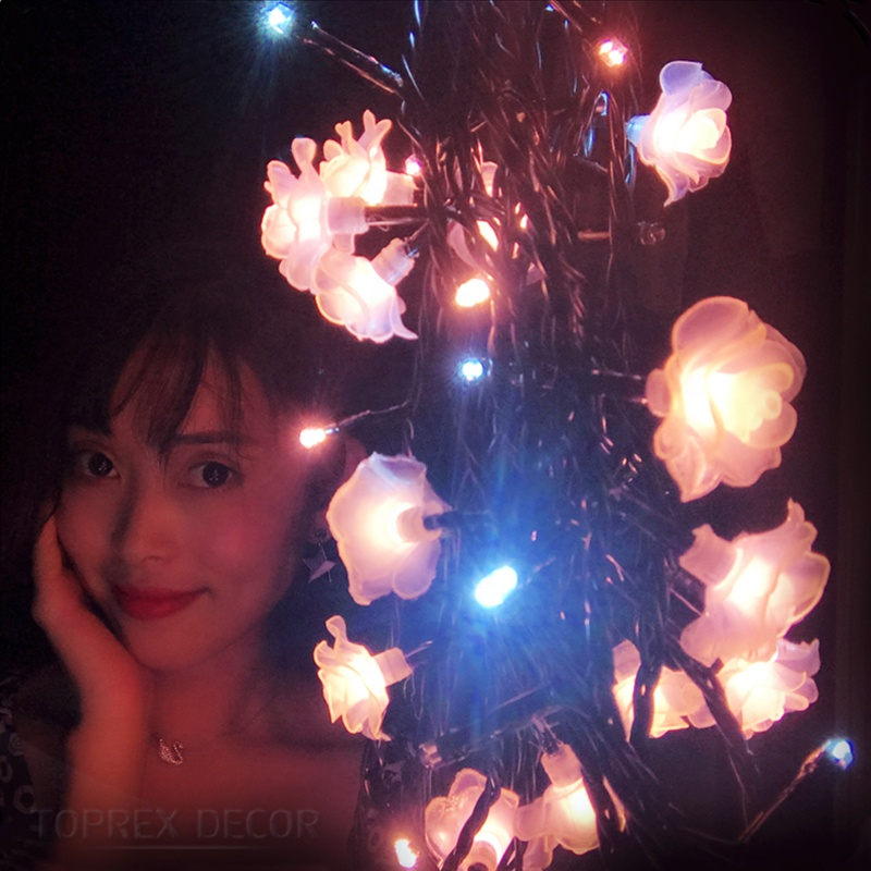 Toprex decor novedades de navidad white led roses flower light bulb chain