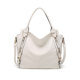 Fashion Trendy Leather Shoulder Bags Ladies Tote Bag Beige PU Handbags for Women 2018