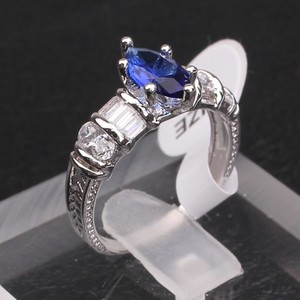 USA Size6-9 Brand 18k White Gold Filled Sapphire Stone Marquise Cut Women Wedding Ring Set R630