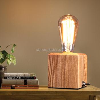Vintage Bedroom E27 Square Base Bedside Reading Wooden Table Desk Lamp