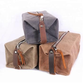 69a99217f483 Custom travel waxed canvas mens toiletry bag cosmetic bag shaving dopp kit  washing bag