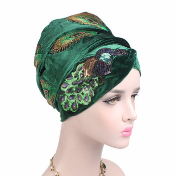 New elegant sequined peacock embroidery long velvet turban Head Wrap African Turban islamic head scarf
