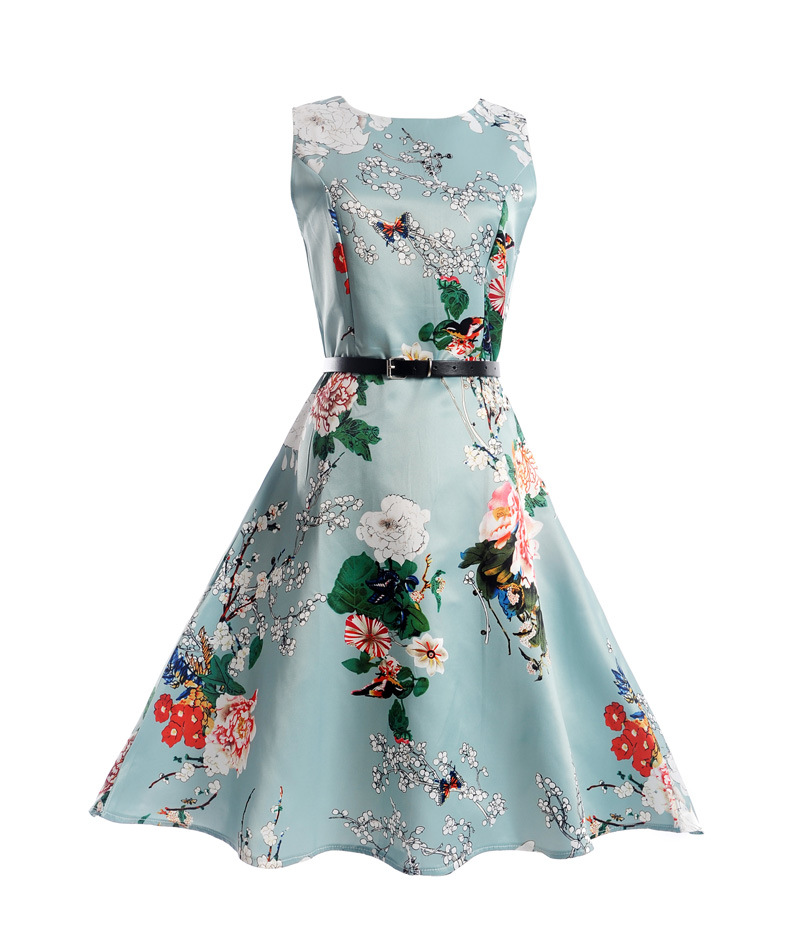 Ultime One Piece Senza Maniche Estate Fiore Stampato Ragazza Causale Dress