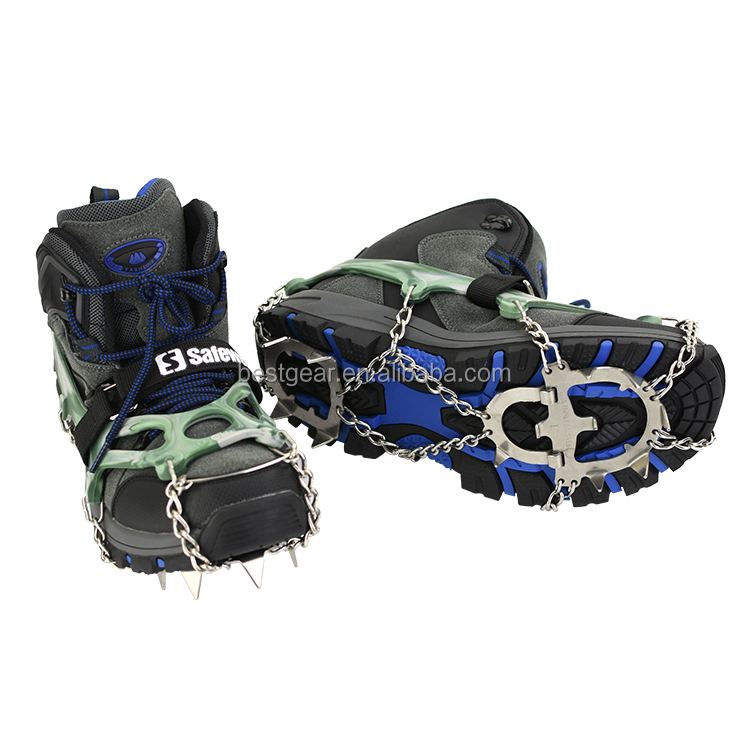 Outdoor 13-tooth non slip silicon adujustable mountain trail climbing snow shoe crampons