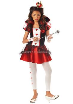 106817fe9 Menina miúdo Adolescentes fantasia vestido de Alice no País Das Maravilhas  Rainha de Copas Costume QBC