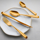 gold cutlery set stainless steel hand forged flatware set