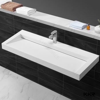 Delightful KKR Solid Surface Integrated Bathroom Sink And Countertop