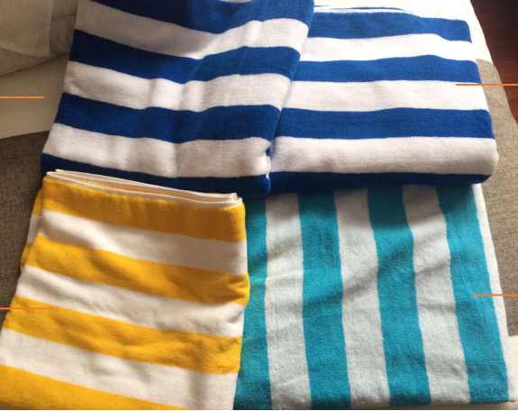 Wholesale blue white stripe luxury hotel cotton large custom beach towel for kids