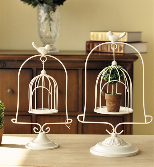 zakka groceries French countryside cage ornaments flower holder home decoration candlestick wedding marriage room furnishings