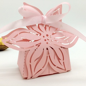 Pink flowers petal shape Laser Cut pearl paper wedding candy box chocolate favour box baby shower birthday new born gift box