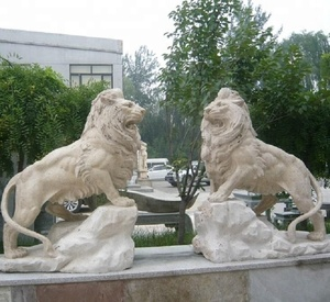 Life size garden animal stone travertine lions statues,Decorative Garden stone products