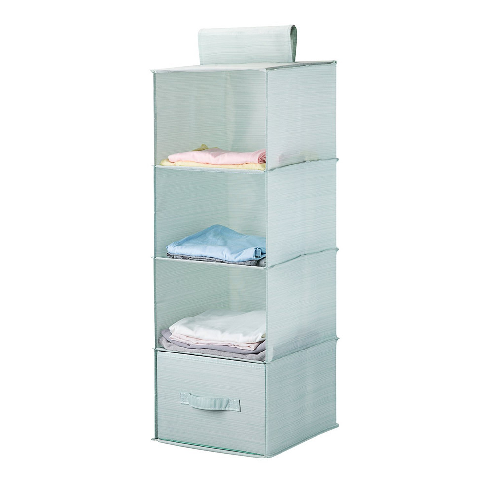 Collapsible 4-shelf hanging closet organizer set with 1drawer thick cardboard boards inside closet for hanging clothes