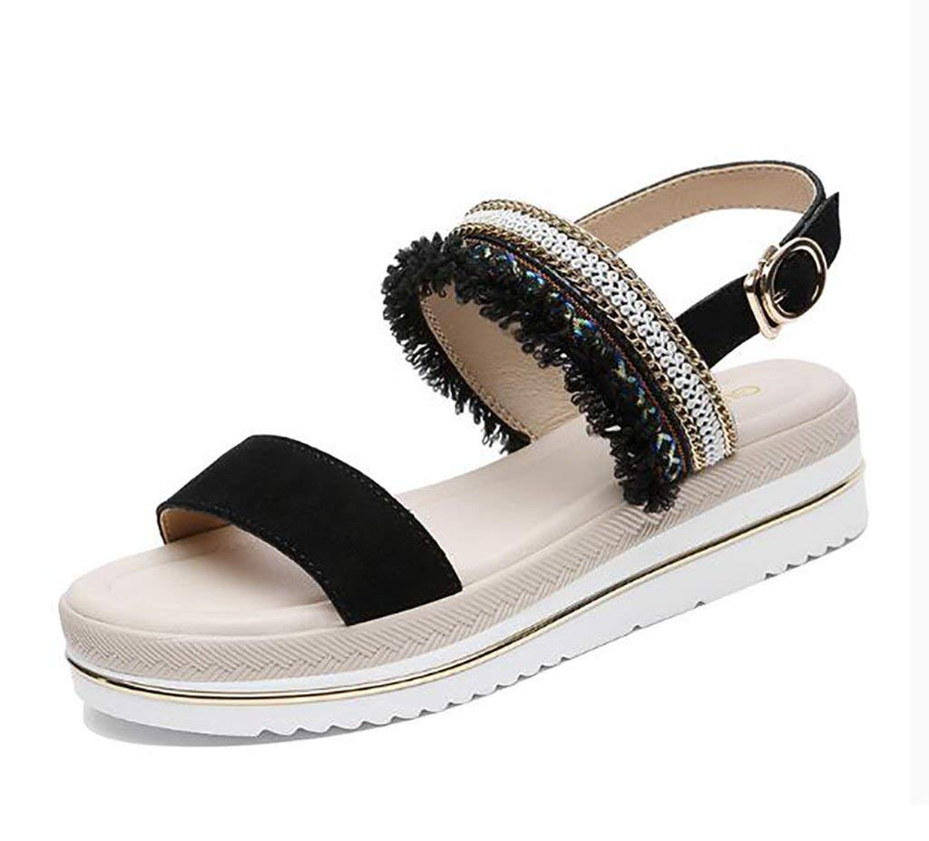 7ab86edcf1 Get Quotations · Sandals Women's Shoes Student Flat Wild Korean Summer  Thick-soled platform shoes Flat Sandals,