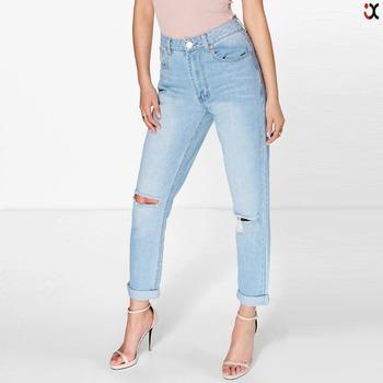 ea75a3f2bb9 High Waist Bleached Ripped Mom Jeans (jxa106 ) - Buy Mom Jeans ...