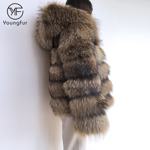 High Quality Natural Raccoon Fur Coat Women's Long Sleeve Winter Warm Genuine Fur Coats Jackets with Hood