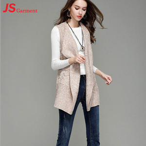JS 40 Hot Sale Medium Length Lapel Lady Knitted Vest Sleeveless Women Sweater Cardigan With Belt 0607137