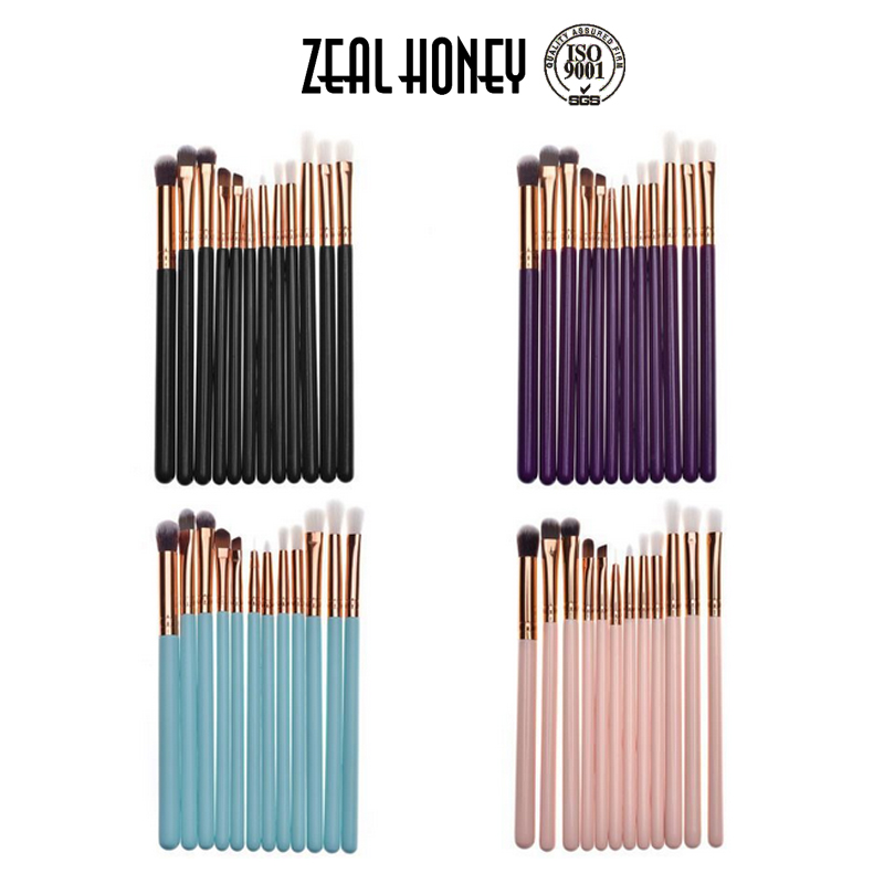 Zealhoney Amazon Hot Sale 12pcs multifuntion makeup brushes for eye brush makeup set