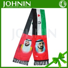 free size custom logo sublimation print national flag scarf
