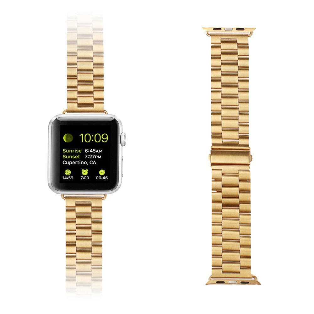Apple Watch Band,xhorizon ™ ZA5 Bracelet Stainless Steel Metal Smart Watch Wrist Band Strap Replacement With Double Button Folding Metal Adapter Clasp For Apple Watch 42mm Sport/Edition (Gold)